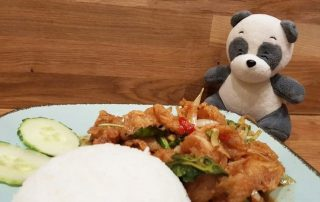 Mister Wong behind a plate of Thai food Ka Prao Pla Thod, deep fried fish with rice.