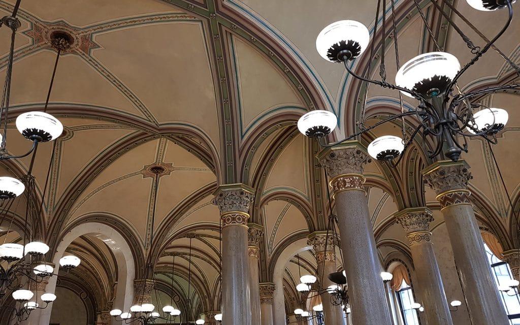 Beautiful Neorenaissance Architecture inside Café Central, Vienna, Austria