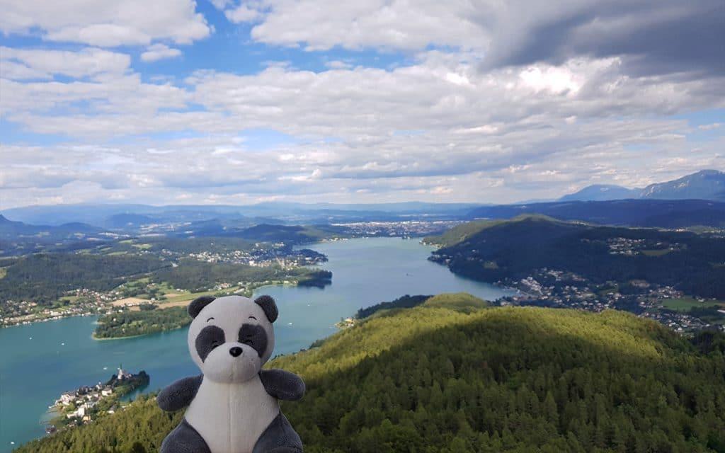 View of Klagenfurt from Pyramidenkogel, Wörthersee, Kärnten, Carinthia, Austria