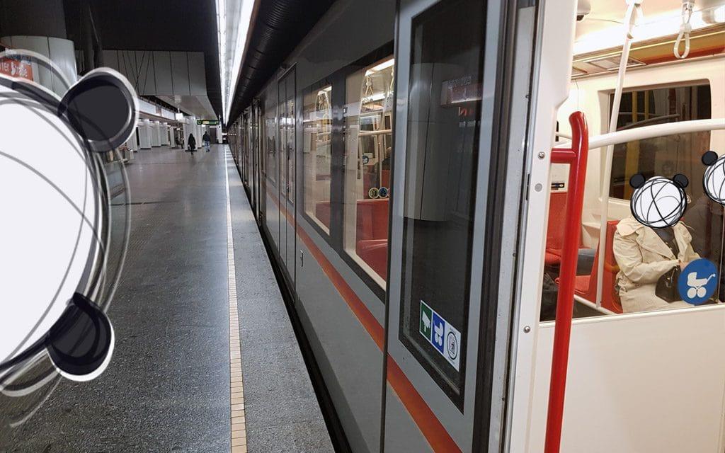 Mind the gap. A open subway door in a Vienna subway station.