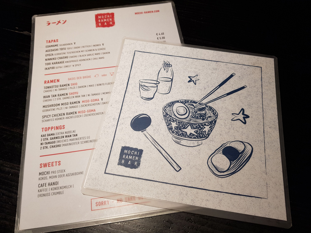 Menu at Mochi Ramen Bar at Vorgartenmarkt in Vienna's 2nd district, Austria,