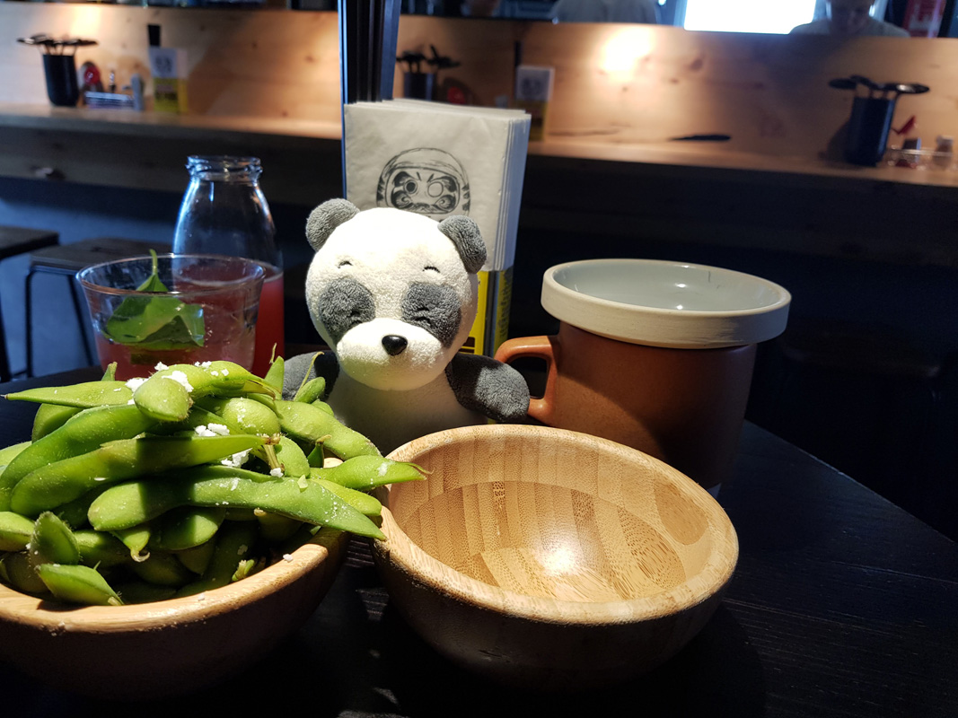Edamame starters at Mochi Ramen Bar at Vorgartenmarkt in Vienna's 2nd district, Austria,