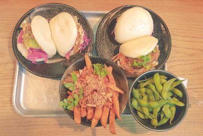 Bao, Sweet Potato Fries and Edamame at Bao Bar Vienna Austria