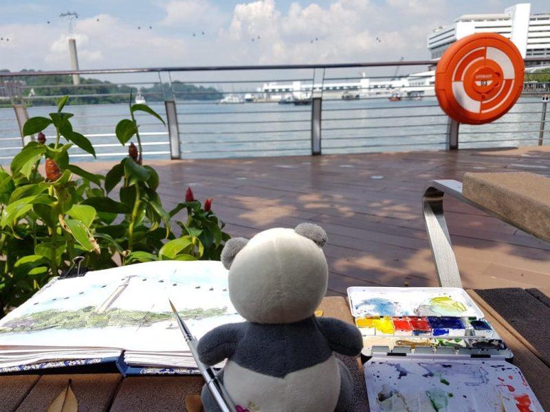 Mister Wong meets the Urban Sketchers Singapore at Sentosa Boardwalk
